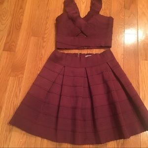 Beautiful Burgundy Two Piece Skirt and Top Outfit